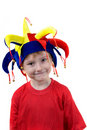Funny boy in the clown hat Royalty Free Stock Image