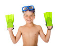 Funny boy in diving mask and flippers on hands Royalty Free Stock Photo