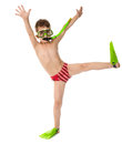 Funny boy in diving mask and flippers Royalty Free Stock Photo