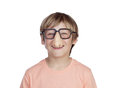 Funny boy with glasses disguise isolated on a white background Stock Photo