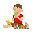 Funny boy with icecream illustration in frormat Stock Images