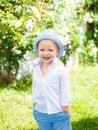 Funny boy. Little child have fun on fresh air. Happy childhood. Little child enjoy walk.