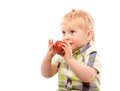 Funny boy with red apple and glasses Royalty Free Stock Photo