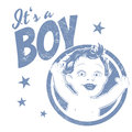 Funny boy sign vintage illustration with a Royalty Free Stock Photography