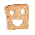 Funny bread slice on white Stock Photos
