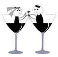Funny bride and groom cute in a champagne glass Royalty Free Stock Photography
