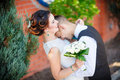 Funny bride and groom Royalty Free Stock Photo