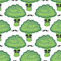 Funny broccoli cartoon seamless pattern. Vegan food. Hipster broccoli with mustache print Royalty Free Stock Photo
