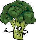 Funny broccoli vegetable cartoon illustration of comic food character Stock Photo