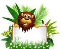 Funny brown lion with blank sign Stock Image