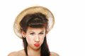 Funny brunette girl in hat retro styling portrait pin up summer studio shot grey background Stock Photography