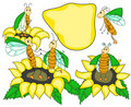 Funny bugs and sunflowers Royalty Free Stock Photos