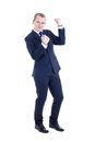 Funny business man dancing isolated on white background Stock Images