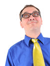 Funny Business Man Geek with Glasses Stock Image