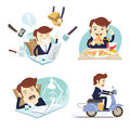 Funny business man wearing suit eating pizza, working hard,sleeping and yawning and riding scooter at his office workplace. Flat s