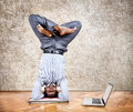 Funny business yoga Stock Photography