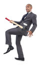 Funny businessman with axe on white Stock Images