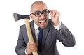 Funny businessman with axe on white Stock Image