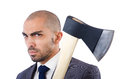 Funny businessman with axe on white Stock Photos