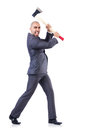 Funny businessman with axe on white Royalty Free Stock Image