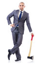 Funny businessman with axe on white Royalty Free Stock Photos