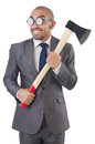 Funny businessman with axe on white Royalty Free Stock Images