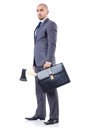Funny businessman with axe on white Royalty Free Stock Photography