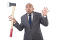 Funny businessman with axe on white Royalty Free Stock Photo