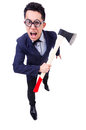 Funny businessman with axe on white Stock Photography