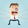 Funny businessman is beaten Royalty Free Stock Photo