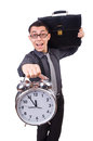 Funny businessman with clock isolated on white Royalty Free Stock Image