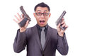 Funny businessman with gun on white Royalty Free Stock Image