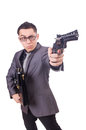 Funny businessman with gun on white Royalty Free Stock Photo