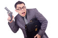 Funny businessman with gun on white Stock Photos