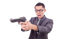 Funny businessman with gun on white Stock Photography
