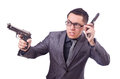 Funny businessman with gun on white Royalty Free Stock Photos