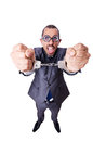 Funny businessman with handcuffs on white Royalty Free Stock Photo