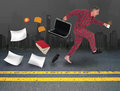 Funny businessman late for work job a is running to in his pajamas because he is his briefcase has opened and he is losing all his Stock Photos