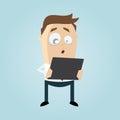 Funny businessman is looking surprised in his tablet