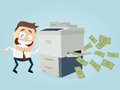Funny businessman making copies of bank notes Royalty Free Stock Photo
