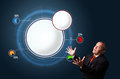 Funny businessman presenting abstract modern pie chart with copy in suit space Stock Image