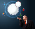 Funny businessman presenting abstract modern pie chart with copy in suit space Royalty Free Stock Photography