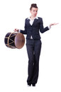 Funny businesswoman with drum isolated on white Royalty Free Stock Photography