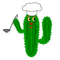 A funny cactus with a chef hat and a soup ladle vector art illustration on white background Stock Photo