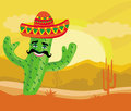 Funny cactus with a sombrero in desert illustration Royalty Free Stock Photography