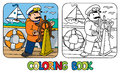 Funny captain or yachtsman. Coloring book Royalty Free Stock Photo
