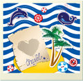 Funny card with dolphin whale island with palms on stripe background Royalty Free Stock Photography