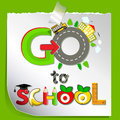 Funny card we go to school children s cheerful greeting Stock Photos