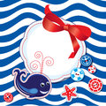 Funny card with whale buttons bow and empty fram frame for text on stripe background Royalty Free Stock Photography