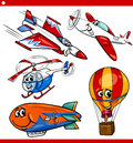 Funny cartoon aircraft vehicles set illustration of or air like planes and balloons comic characters for children Stock Image